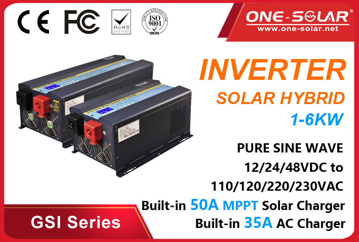 1-6KW Pure sine wave inverter with MPPT solar charge controller GSI Series