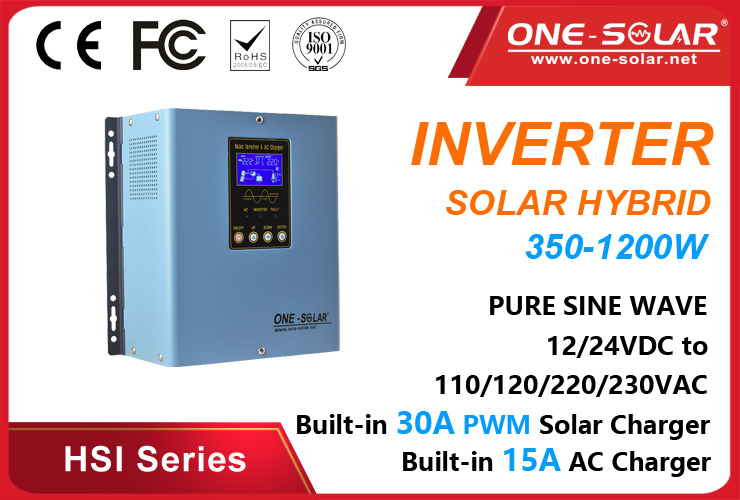 350W-1200W hybrid solar inverter with PWM solar charge controller HSI Series